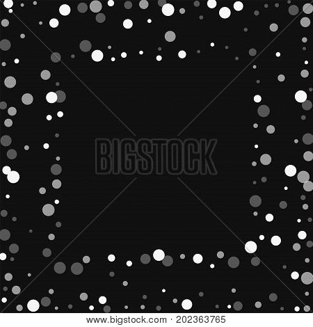 Falling White Dots. Square Scattered Frame With Falling White Dots On Black Background. Vector Illus