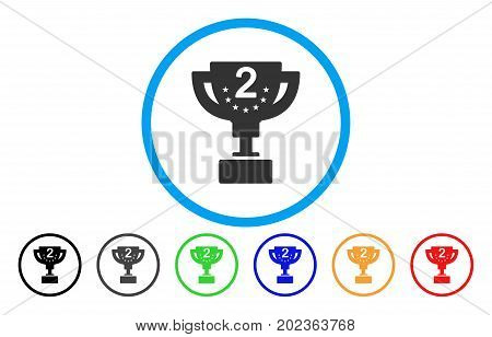 Second Prize Cup vector rounded icon. Image style is a flat gray icon symbol inside a blue circle. Bonus color variants are gray, black, blue, green, red, orange.