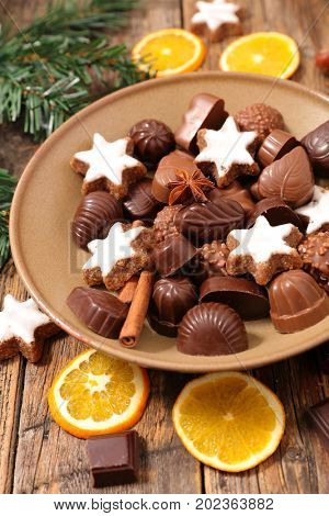 chocolate,praline and dessert for christmas