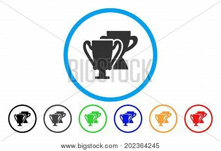 Trophy Cups vector rounded icon. Image style is a flat gray icon symbol inside a blue circle. Bonus color versions are gray, black, blue, green, red, orange.
