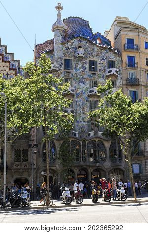 BARCELONA, SPAIN - MAY 12, 2017: Casa Batllo is a residential building in the area of Eixample which is one of Gaudi's masterpieces of modernism.