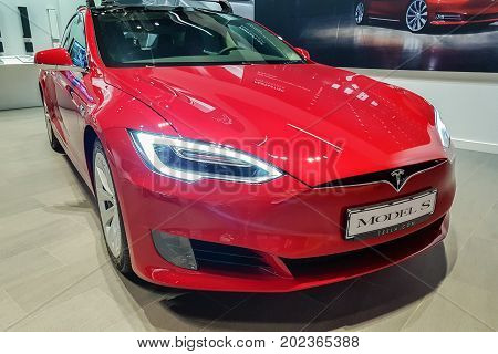 Malmo Sweden - July 26 2017: Presentation of the new Tesla Model S in Emporia Shopping Center. The Tesla Model S is a electric luxury liftback produced by Tesla Inc.