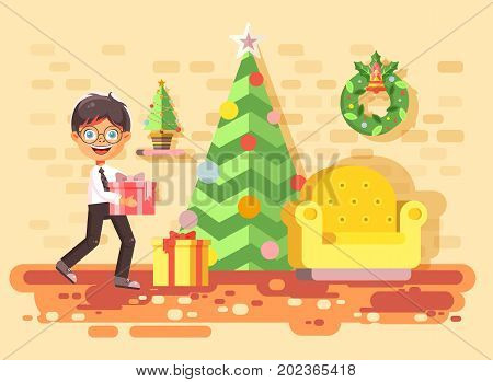 Stock vector illustration cartoon character child brunette boy, schoolboy bring gift in room with Christmas tree, happy New Year and Christmas, rejoice celebrate flat style element for motion design