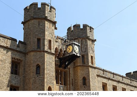 LONDON, GREAT BRITAIN - MAY 16, 2014: This is a fragment of the facade with watches at the Royal Regalia Storehouse in the Tower of London.