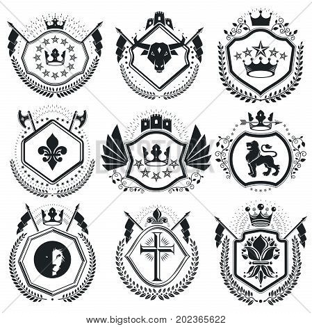 Vintage vector design elements. Retro style labels heraldry. Classy high quality symbolic illustrations collection vector set.