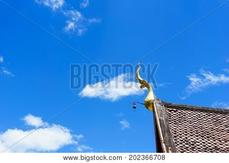 Statue Of The Head Of The Serpent On The Top Of Roof With Blue Sky And Cloud