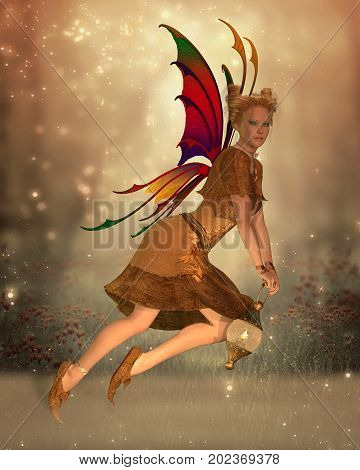 Fairy Isa 3d illustration - Fairy Isa flies through the magical forest at sunset holding a bright lantern to light her way.