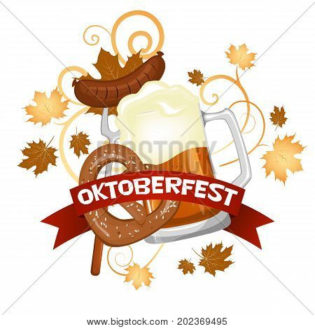 Oktoberfest. Welcome to the beer festival. The invitation, flyer or poster for the holiday. A glass of beer. Stock vector.