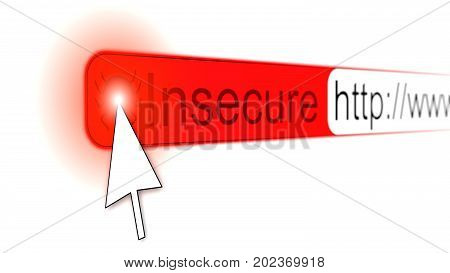 Mouse pointer clicking red bug on a insecure http website address bar