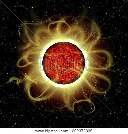 Sun's Magnetic Fields 3d illustration - The sun is a molten composite of metals and gases and every 11 years their is a cycle of solar flare activity caused from disruption of magnetic fields.