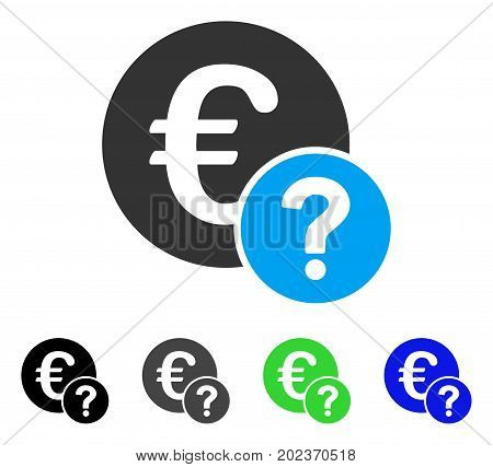 Euro Status vector pictogram. Style is a flat graphic symbol in black, gray, blue, green color variants. Designed for web and mobile apps.