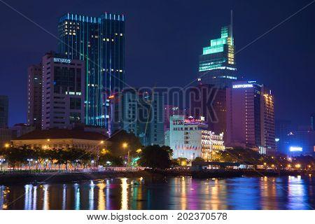 HO CHI MINH, VIETNAM - DECEMBER 20, 2015: Modern night city landscape