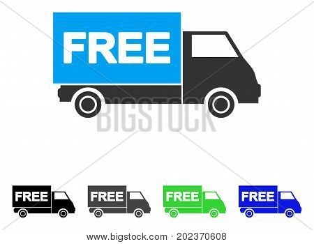 Free Shipment Van vector pictograph. Style is a flat graphic symbol in black, grey, blue, green color variants. Designed for web and mobile apps.