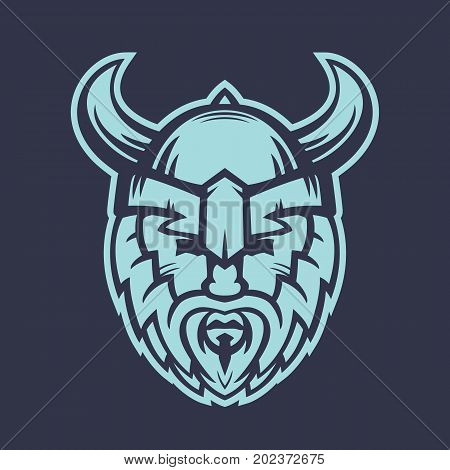Vikings logo element, warrior in helmet with horns, eps 10 file, easy to edit