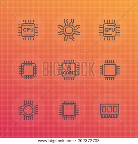 Chipset, cpu line icons set, microchip, gpu, 8 core processor, memory chip vector signs