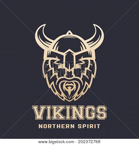 Vikings logo, bearded warrior in horned helmet, eps 10 file, easy to edit