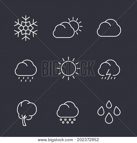 Weather icons set in linear style, clouds, rain, snowflake, hail, wind, sun, vector illustration