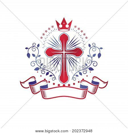 Cross of Christianity graphic emblem. Heraldic vector design element. Retro style label heraldry logo religious insignia decorated with luxury ribbon and monarch crown.