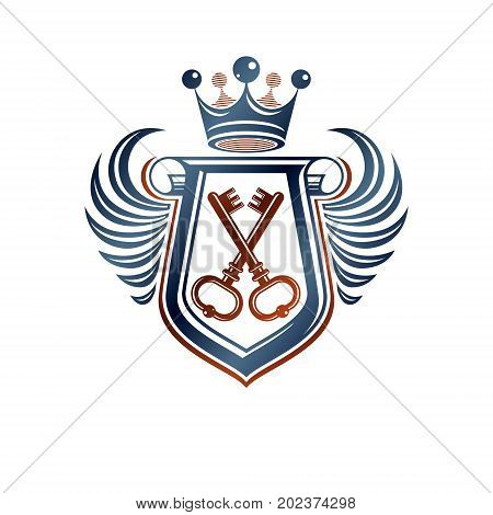 Heraldic coat of arms decorative emblem with cartouche. Empty winged protection shield emblem created with imperial crown and keys isolated vector illustration.