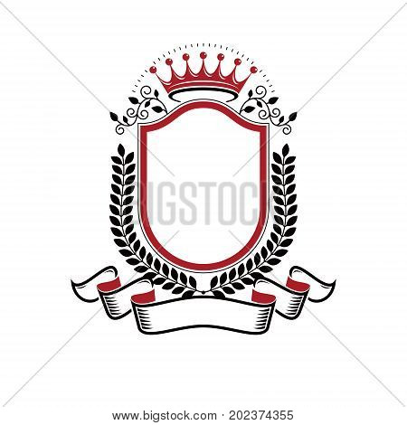 Graphic emblem created with ancient Crown and laurel wreath. Heraldic vector design element decorated with ribbon. Retro style label heraldry logo.