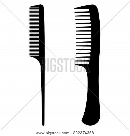 Vector illustration set collection black silhouette of comb icon isolated on white background. Barber hair comb. Salon sign symbols