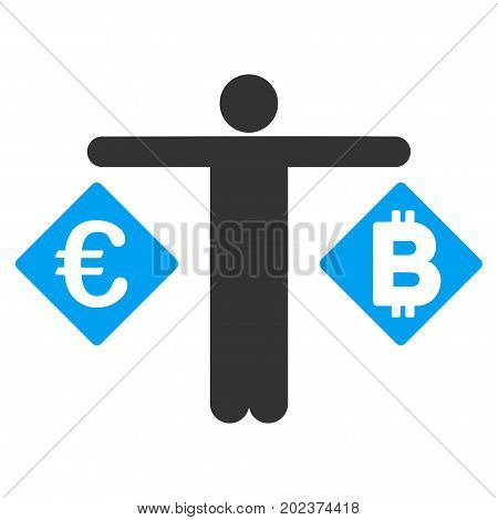 Person Compare Euro And Bitcoin vector pictograph. Style is flat graphic symbol.