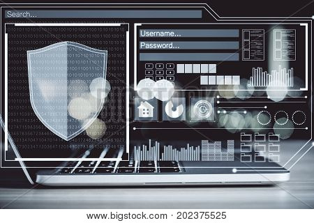 Side view and close up of modern workplace with laptop and antivirus interface. Innovation concept. Double exposure