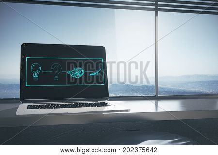 Workplace with laptop abstract digital sketch on screen and landscape view with sunlight. Business concept. 3D Rendering