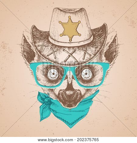 Hipster Animal Lemur. Hand Drawing Muzzle Of Animal  Lemur