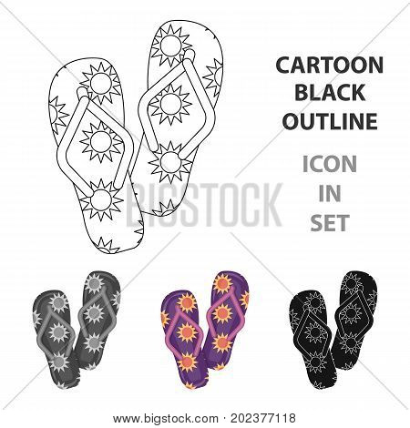 Summer rubber flip flops.Flip flops single icon in cartoon style vector symbol stock web illustration.