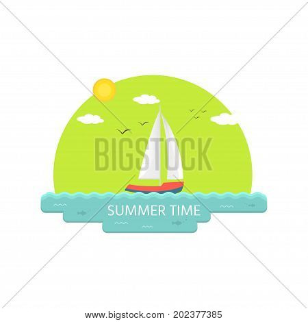 Nautical vehicles: sail boat ship vessel luxury yacht speedboat. Summer time. Vector icon isolated on green background.