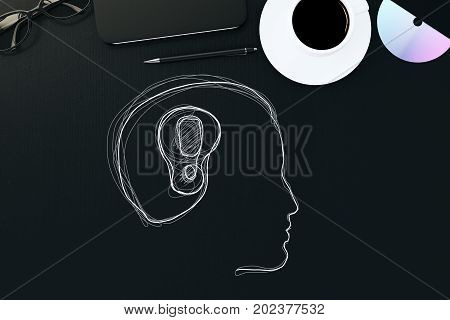Top view of black office desktop with coffee cup other items and abstract male head drawing with exclamation mark. Solution concept. 3D Rendering