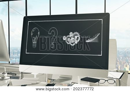 Creative workplace with digital sketch on computer screen coffee cup supplies other items and city view. Innovation concept. 3D Rendering