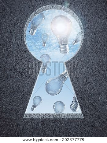 Abstract concrete wall with keyhole opening sky and light bulb rain view. Idea concept. 3D Rendering