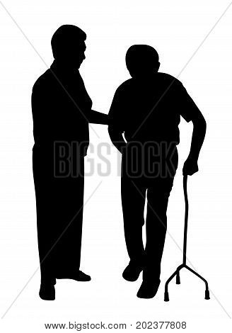 Disabled man walking with woman. Isolated white background. EPS file available.