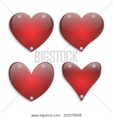 Set of red glass hearts with shiny metallic conical gradients on a white background. Romantic elements vector illustration.