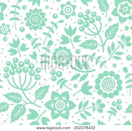 Berries and twigs, decorative background, seamless, mint white, vector. Twigs with berries and flowers mint color on a white background. Floral seamless pattern.