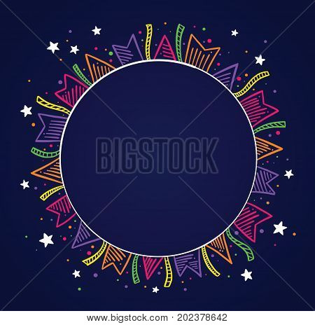 Dark background with colored flags drawing around a circle with space to place text