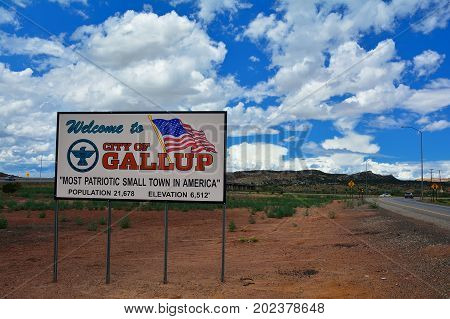 GALLUP NEW MEXICO - JULY 22: Welcome sign to Gallup most patriotic small town in America on July 22 2017 in Gallup New Mexico.