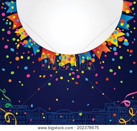 Party background with white space for text with confetti and colored flags around