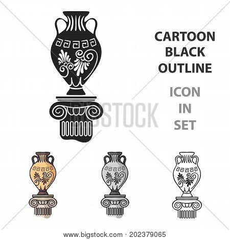 Amphora icon in cartoon style isolated on white background. Museum symbol vector illustration.