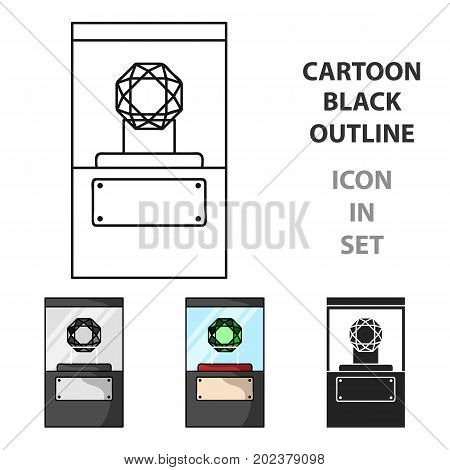 Diamond on a pedestal icon in cartoon style isolated on white background. Museum symbol vector illustration.