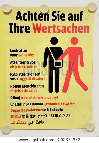 German And Multilingual Signpost With Attention To Pickpockets A