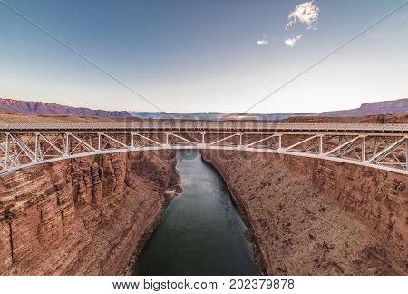 Navajo Bridge spanning the Colorado River in Arizona USA.