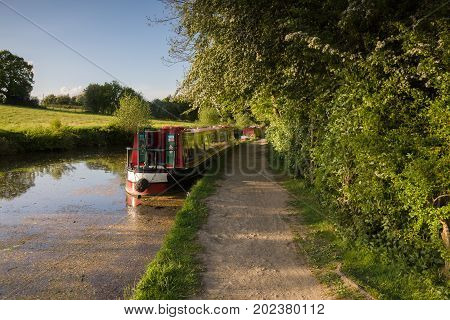 Gledrid Shropshire UK - May 14 2017: A late summer afternoon on the 200 year old Shropshire Union canal in England with traditional British narrowboats moored up on the bank