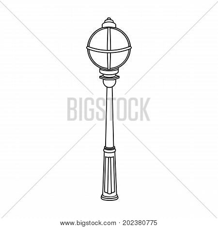 Street lights in retro style. Lamppost single icon in outline style vector symbol stock illustration .