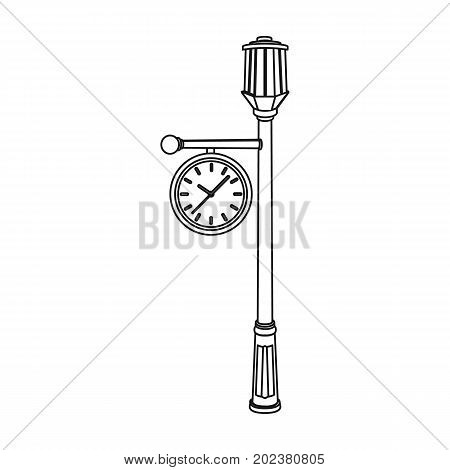 Lamppost with a clock.Lamppost single icon in outline style vector symbol stock illustration .