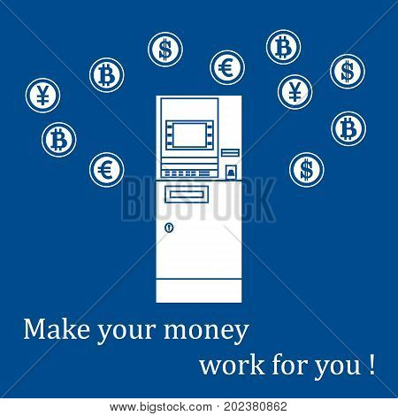 Stylized icon of a colored automatic teller machine or ATM and different types of currency and Bitcoins. Design for banner poster or print.