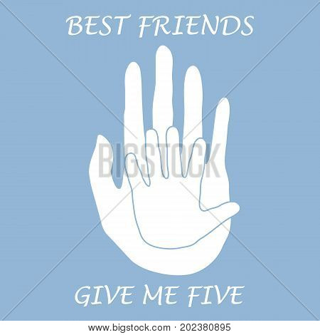 Cute Vector Illustration Of  Two Hands Adult And Child Giving A Five. Friends Forever.