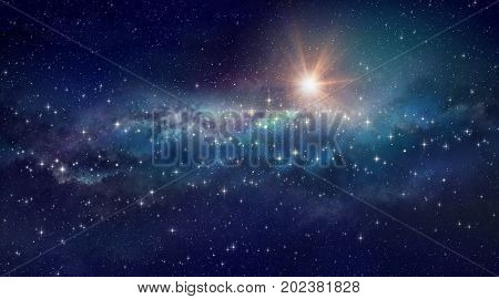 High definition star cluster background bright sun shining in a milky way